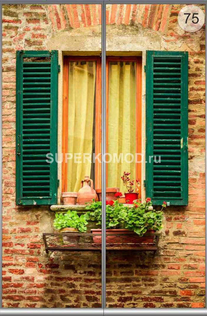 Фотообои на заказ - window in an old house decorated with fl.